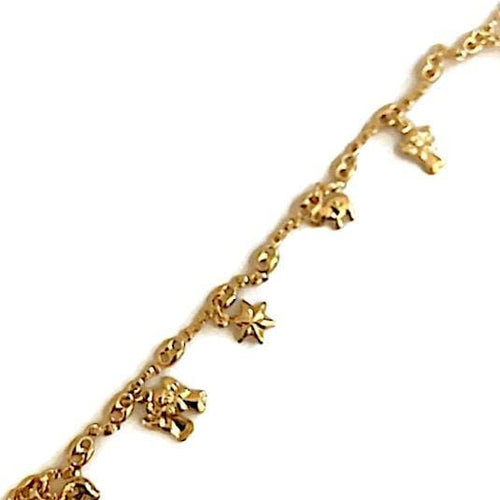 Angels And Stars Charms Design Anklet 18Kts Of Gold Plated Anklet