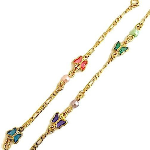 Butterflies Multicolors Anklet 18Kts Of Gold Plated Anklet