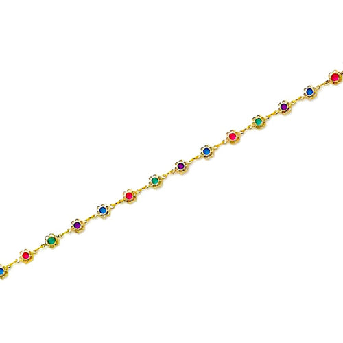 Multi-Color Flowers Anklet 18Kts Of Gold Plated