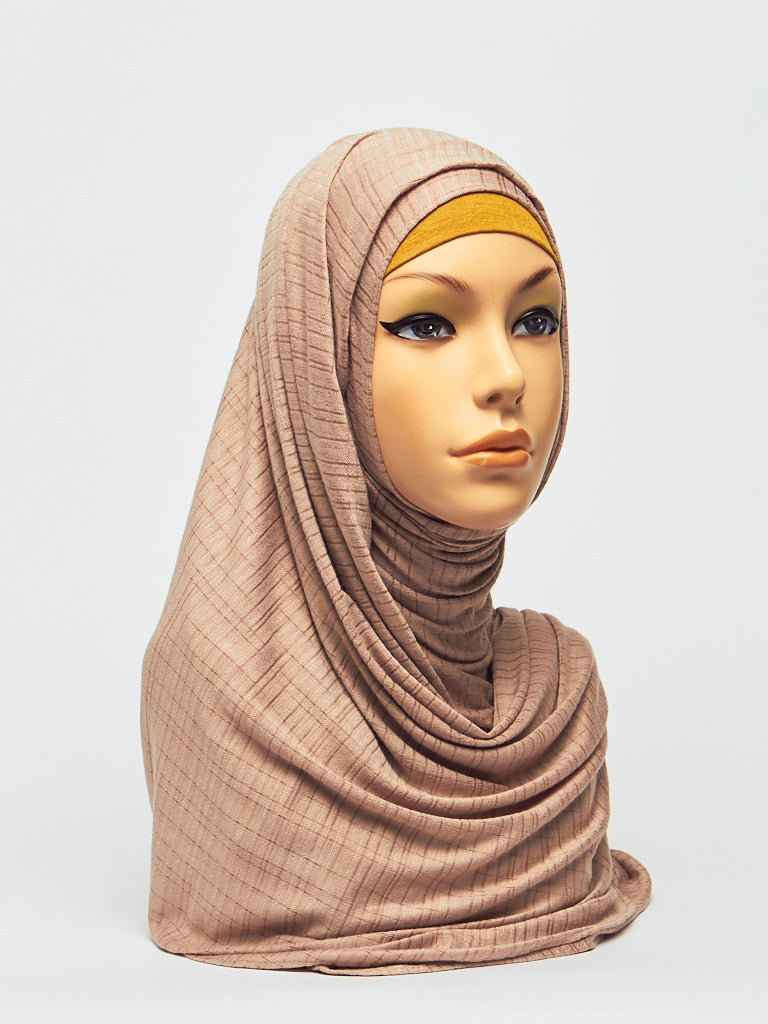 Jersey Checkered Pattern Instant Hijab