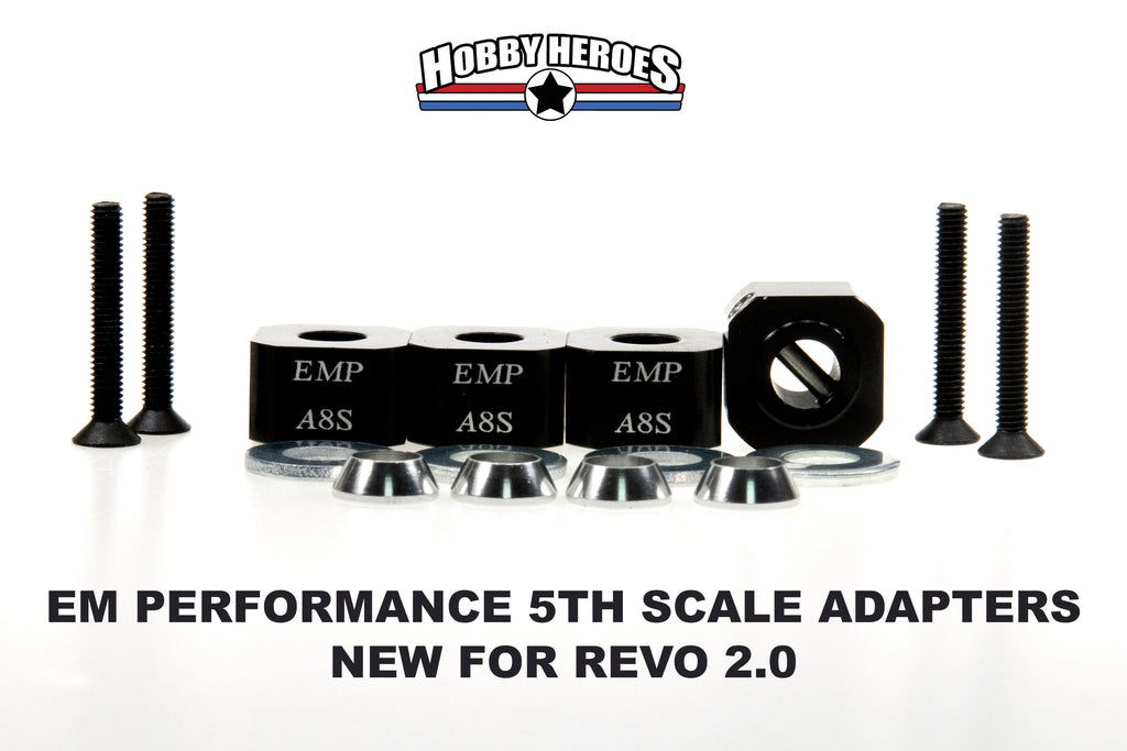 EM Performance 1/5th Wheel Adapter E REVO 2.0 (4 PIECES) EMWA8S Comes in black only