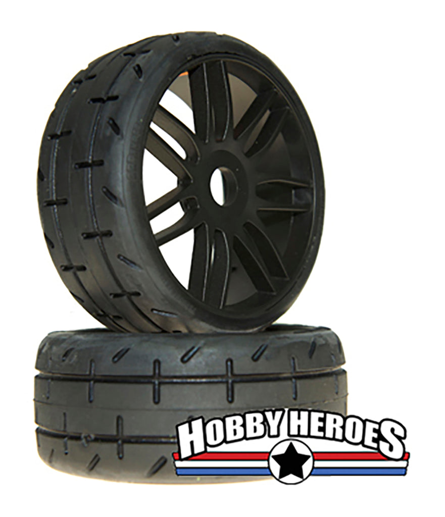 GRP Tyres 1:8 GT Treaded S5 Medium Black Spoked Belted On-Road Rubber Tires GRPGTX01-S5