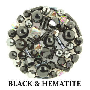 Black & Hematite mix includes metallic and opaque beads in black, silver, shades of grey, and ivory