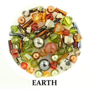 Earth mix includes metallic, opaque, and matte beads in silver, sea green, shades of brown, amber, pale orange, and gold
