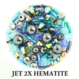 Jet 2X Hematite mix includes metallic, matte, and opaque beads in shades of blue, teal, and silver