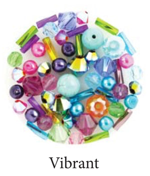 Vibrant mix includes matte and metallic sky blue, fuchsia, orange, purple, yellow, lime green beads