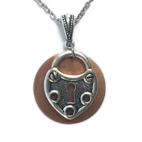 Circle Patina Necklace with Lock Pendant