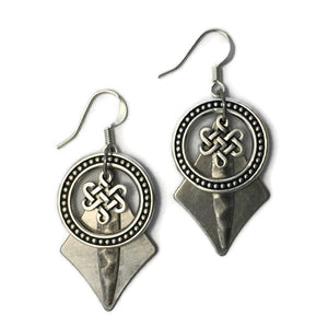 Layered Silver-Toned Patina Celtic Knot Earring