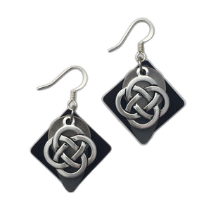 Elements Layered Patina Celtic Knot Pendant Drop Earrings