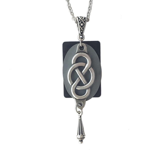 Layered Cool Toned Multi-Patina North-South Celtic Knot Pendant Necklace w/ Teardrop