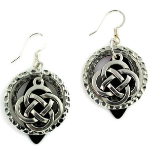Layered Silver-Toned & Black Patina Celtic Knot Earring