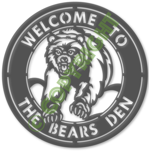 "12"" Bears Den Sign DXF Plasma File"