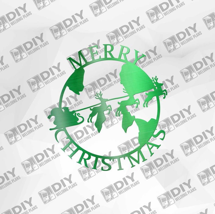 Merry Christmas Santa Sleighing World DXF Plasma File