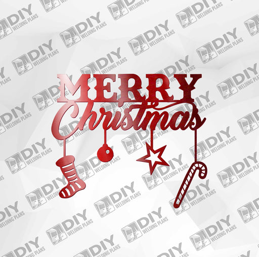 Merry Christmas with Ornaments DXF Plasma File