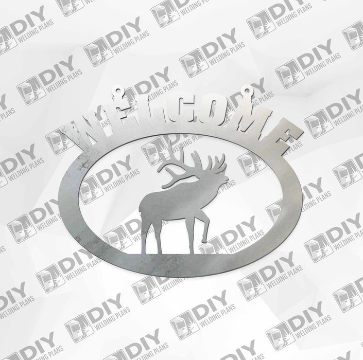 "18"" x 15"" Welcome Elk Sign DXF Plasma File"