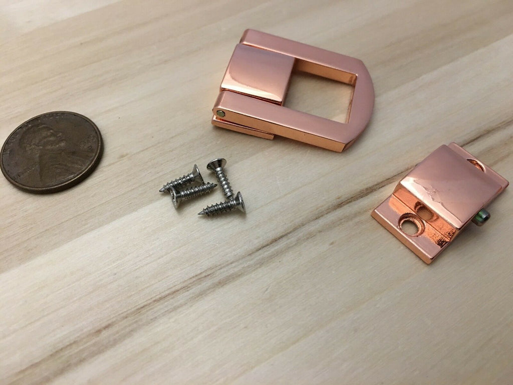 1 Piece - Rose gold pink clasp Mini latch lock small hook metal purse DIY C29