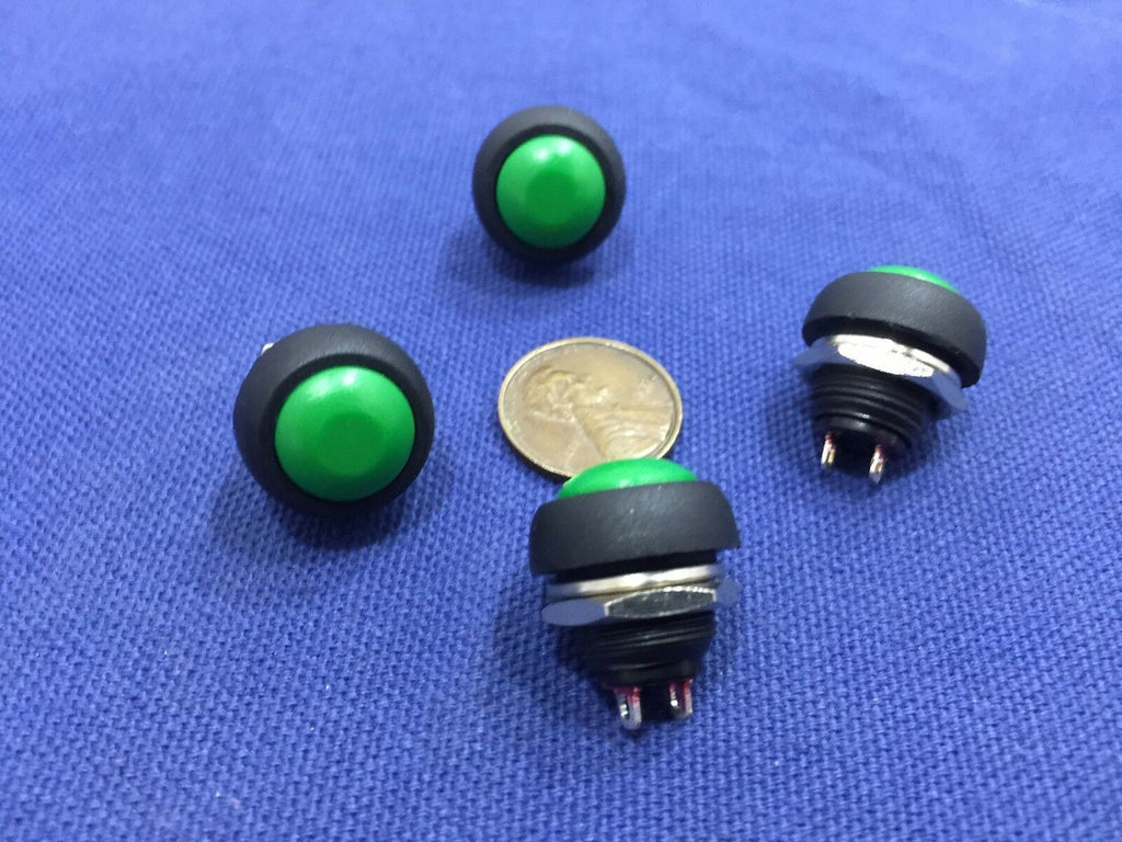 4 Pieces GREEN N/O  12mm Round Momentary Push Button Switch 3A 250VAC C2