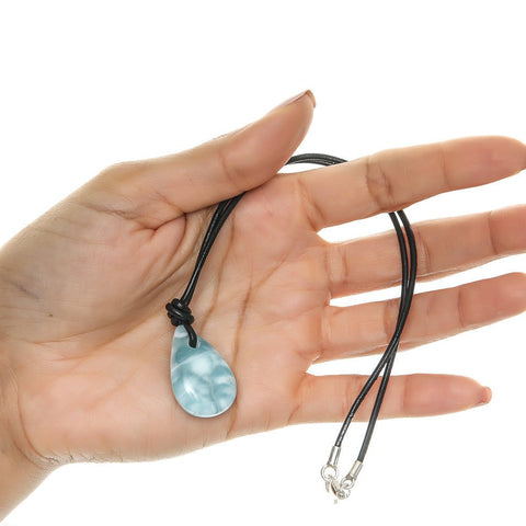 Larimar Stone and Leather Cord Necklace, Loui