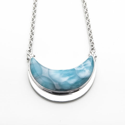 Larimar Moon Necklace, Coroline