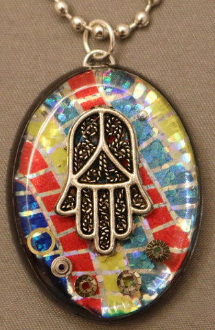 A Hand Crafted a Hamsa Pendant with chain. One of a Kind Wearable Judaica Art  # P-125