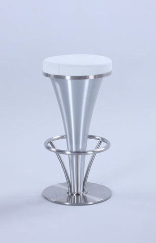 "Chintaly 1671-BS-WHT ""V"" Pedestal Bar Stool"