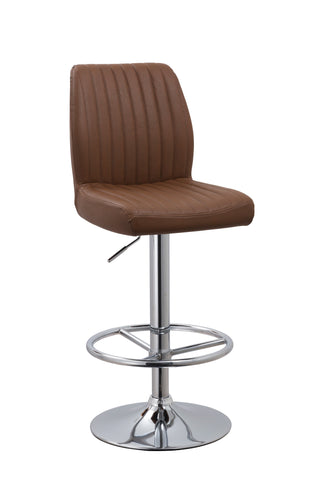 Chintaly 1876-AS-BRW Quilted Adjustable Height Swivel Stool