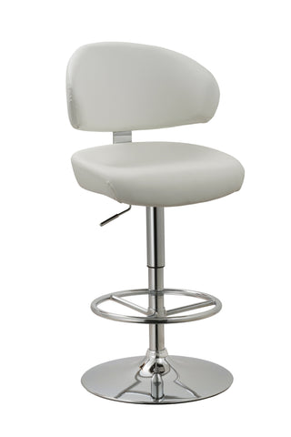 Chintaly 1879-AS-WHT Curved Back Adjustable Height Swivel Stool