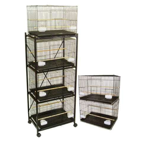 Lot of 6 Small Breeding Cages with Divider and One 4 Tie Stand - Black