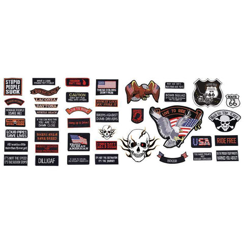 B&F System GFPATCH42 Live To Ride 42pc Embroidered Motorcycle Patch Set - Peazz.com