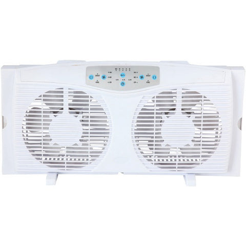 "Optimus F-5286 8"" Reversible Twin Window Fan with Thermostat - Peazz.com"