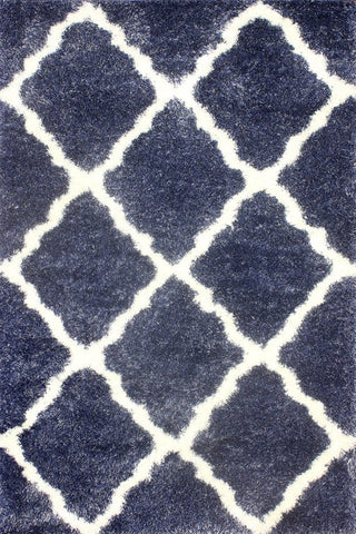 Nuloom OZSG14C-8010 Plush Shag Collection Denim Finish Moroccan Trellis Shag - Peazz.com