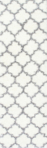 Nuloom OZSG16A-2808 Plush Shag Collection Ivory Finish Luna Trellis Shag - Peazz.com