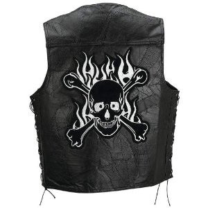 B&F System GFVSCBL Diamond Plate Rock Design Genuine Buffalo Leather Motorcycle Vest - Peazz.com