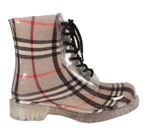 Portland-01 Jelly Plaid Lace Up Rain Boot - Peazz.com