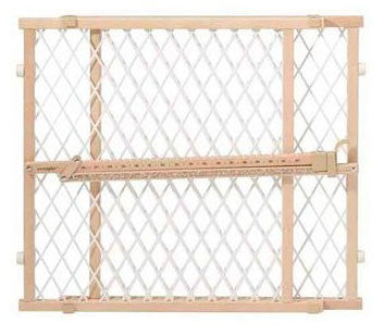 Evenflo G202 Position and Lock Gate Clear Wood / White Mesh - Peazz.com