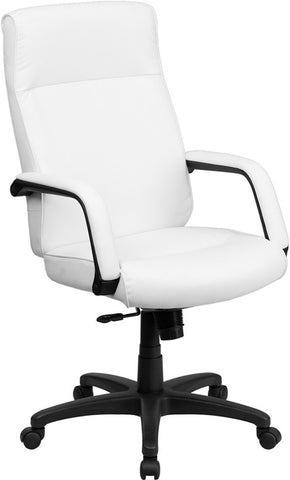 Flash Furniture BT-90033H-WH-GG High Back White Leather Executive Office Chair with Memory Foam Padding - Peazz.com