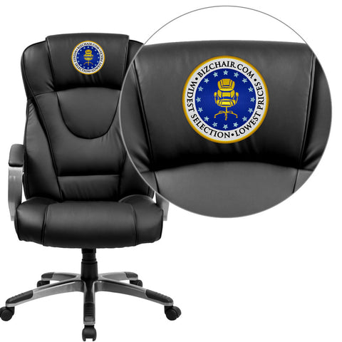 Flash Furniture BT-9069-BK-EMB-GG Embroidered High Back Black Leather Executive Office Chair - Peazz.com