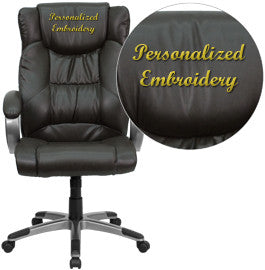 Flash Furniture BT-9088-BRN-EMB-GG Embroidered High Back Espresso Brown Leather Executive Office Chair - Peazz.com