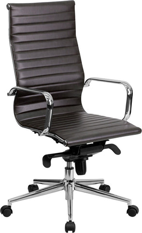Flash Furniture BT-9826H-BRN-GG High Back Brown Ribbed Upholstered Leather Executive Office Chair - Peazz.com