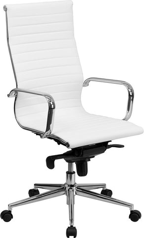 Flash Furniture BT-9826H-WH-GG High Back White Ribbed Upholstered Leather Executive Office Chair - Peazz.com