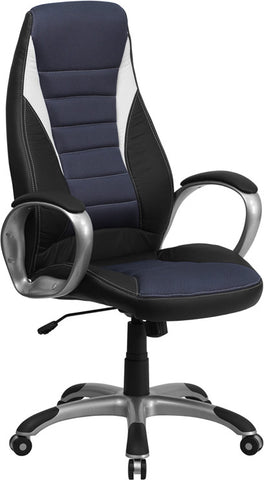 Flash Furniture CH-CX0243H-SAT-GG High Back Black Vinyl Executive Office Chair with Blue Mesh Insets - Peazz.com