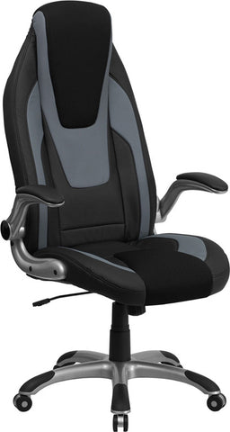 Flash Furniture CH-CX0326H02-GG High Back Black & Gray Vinyl Executive Office Chair with Black Mesh Insets and Flip Up Arms - Peazz.com