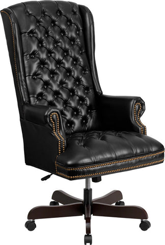 Flash Furniture CI-360-BK-GG High Back Traditional Tufted Black Leather Executive Office Chair - Peazz.com