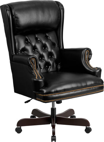 Flash Furniture CI-J600-BK-GG High Back Traditional Tufted Black Leather Executive Office Chair - Peazz.com