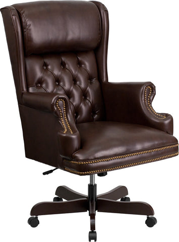 Flash Furniture CI-J600-BRN-GG High Back Traditional Tufted Brown Leather Executive Office Chair - Peazz.com