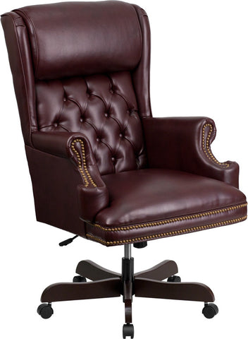 Flash Furniture CI-J600-BY-GG High Back Traditional Tufted Burgundy Leather Executive Office Chair - Peazz.com