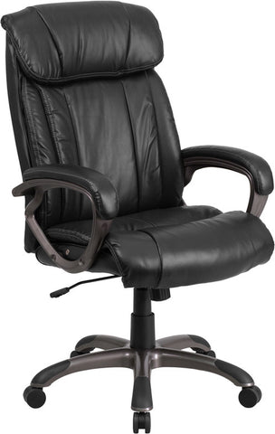 Flash Furniture GF-ZJK-3799H-1-GG High Back Black Leather Executive Office Chair with White Stich Trim - Peazz.com