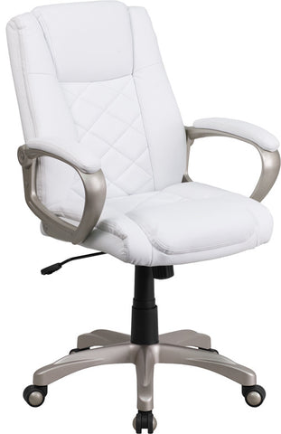 Flash Furniture GF-ZJK-9631S-GG High Back White Leather Executive Office Chair with Gold Nylon Base - Peazz.com
