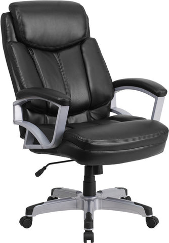Flash Furniture GO-1850-1-LEA-GG HERCULES Series 500 lb. Capacity Big & Tall Black Leather Executive Office Chair - Peazz.com