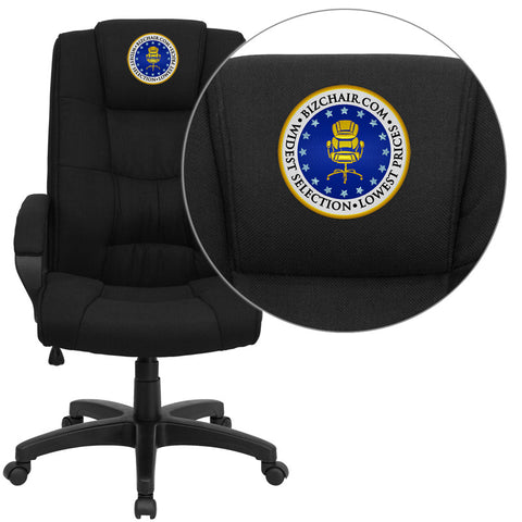 Flash Furniture GO-5301B-BK-EMB-GG Embroidered High Back Black Fabric Executive Office Chair - Peazz.com